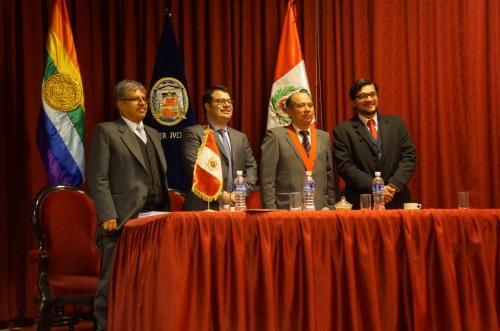 De izquierda a derecha: Juez superior titular Dr. Wilber Bustamante, Prof. Dr. Daniel Mitidiero, Presidente de la Corte Superior de Justicia del Cusco Dr. Víctor Ladrón de Guevara y el autor de este blog